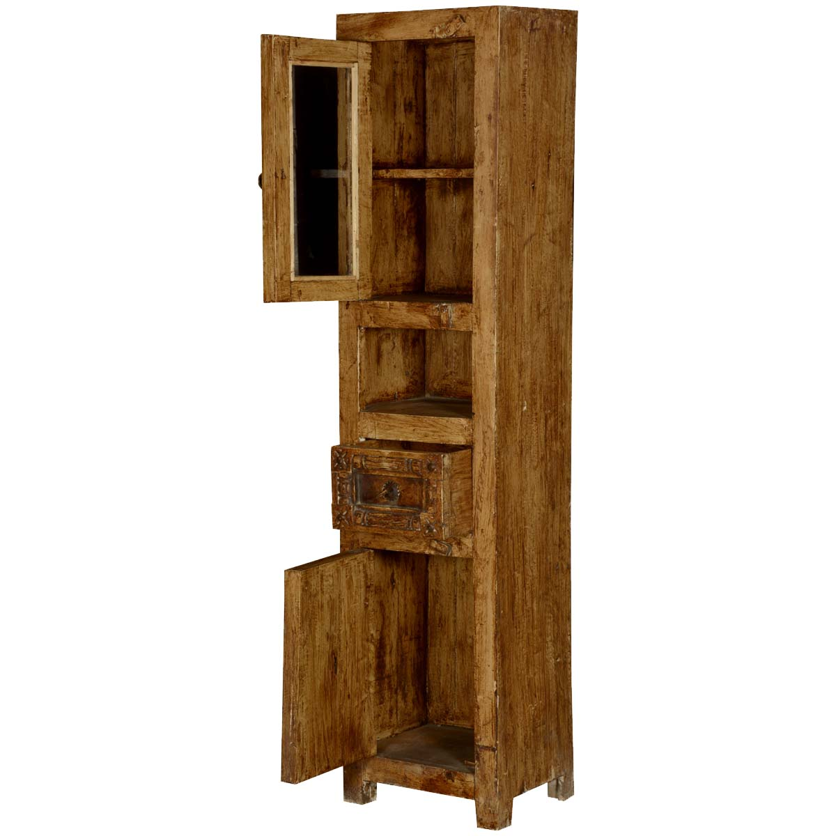 Passage From India Reclaimed Wood Hand Carved Skinny Storage Cabinet