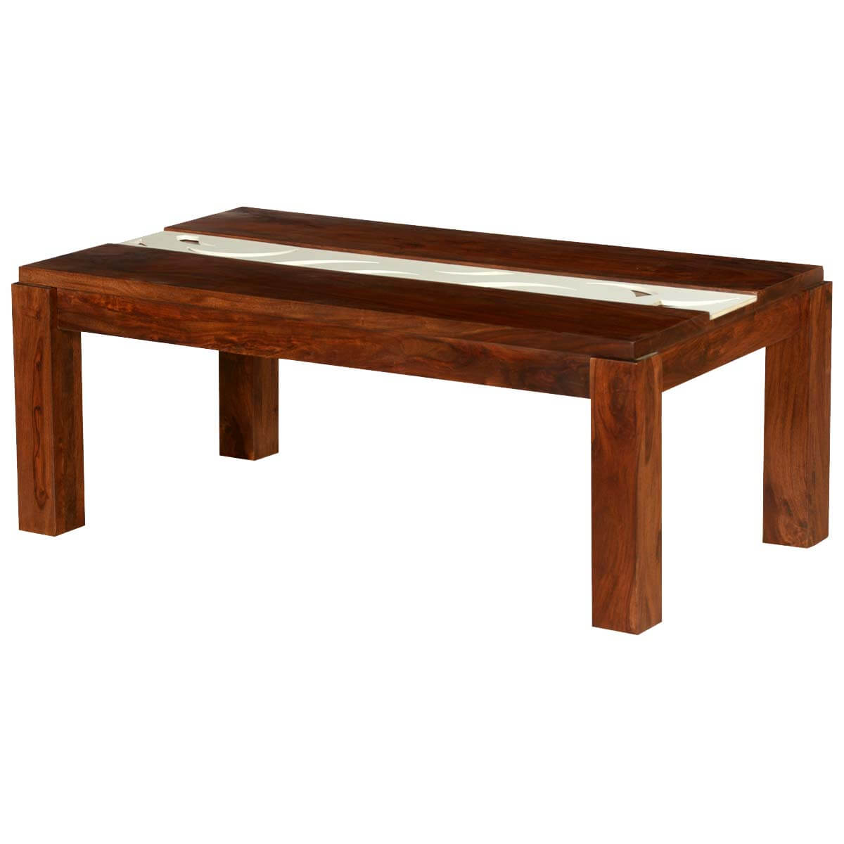 Stokes white stripe solid wood 46 coffee table for White wood coffee table