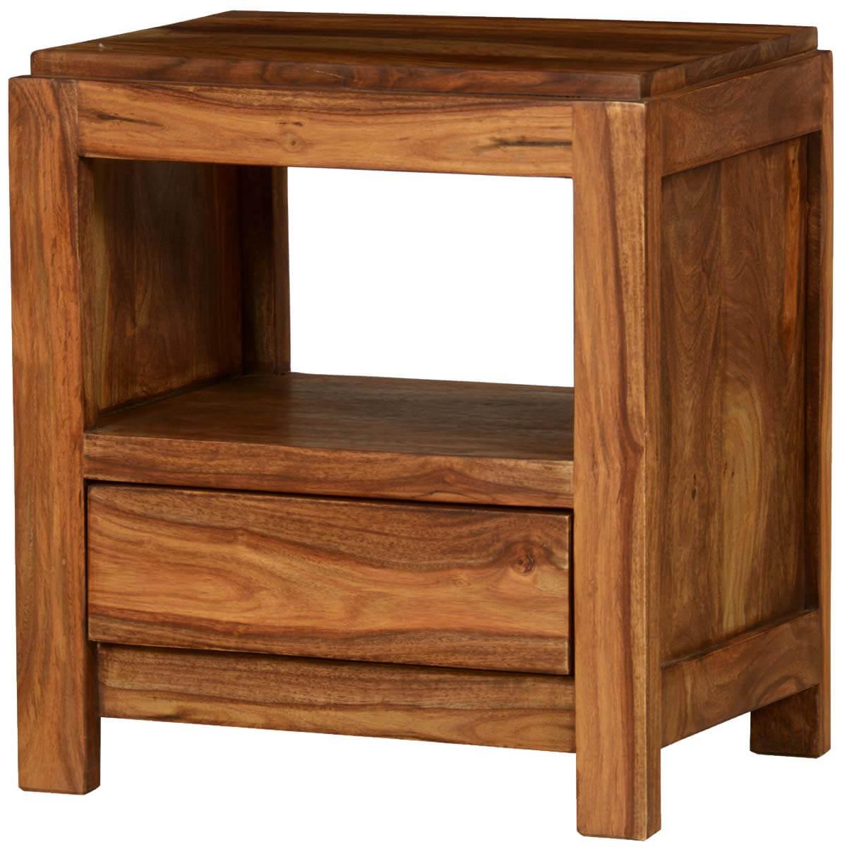 Pioneer modern rustic solid wood nightstand end table w drawer for Rustic nightstands