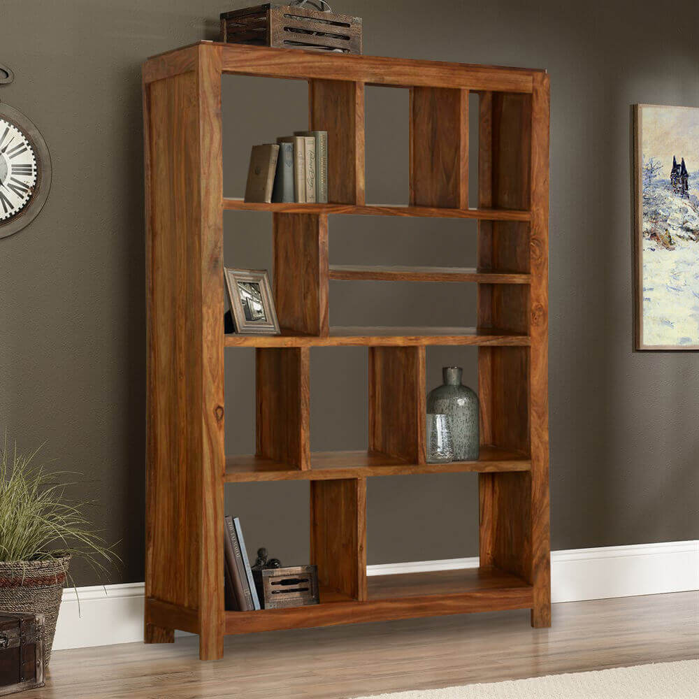Wood Bookshelves For Sale: Simply Modern Solid Wood 11 Section Display Rack Cube Bookcase