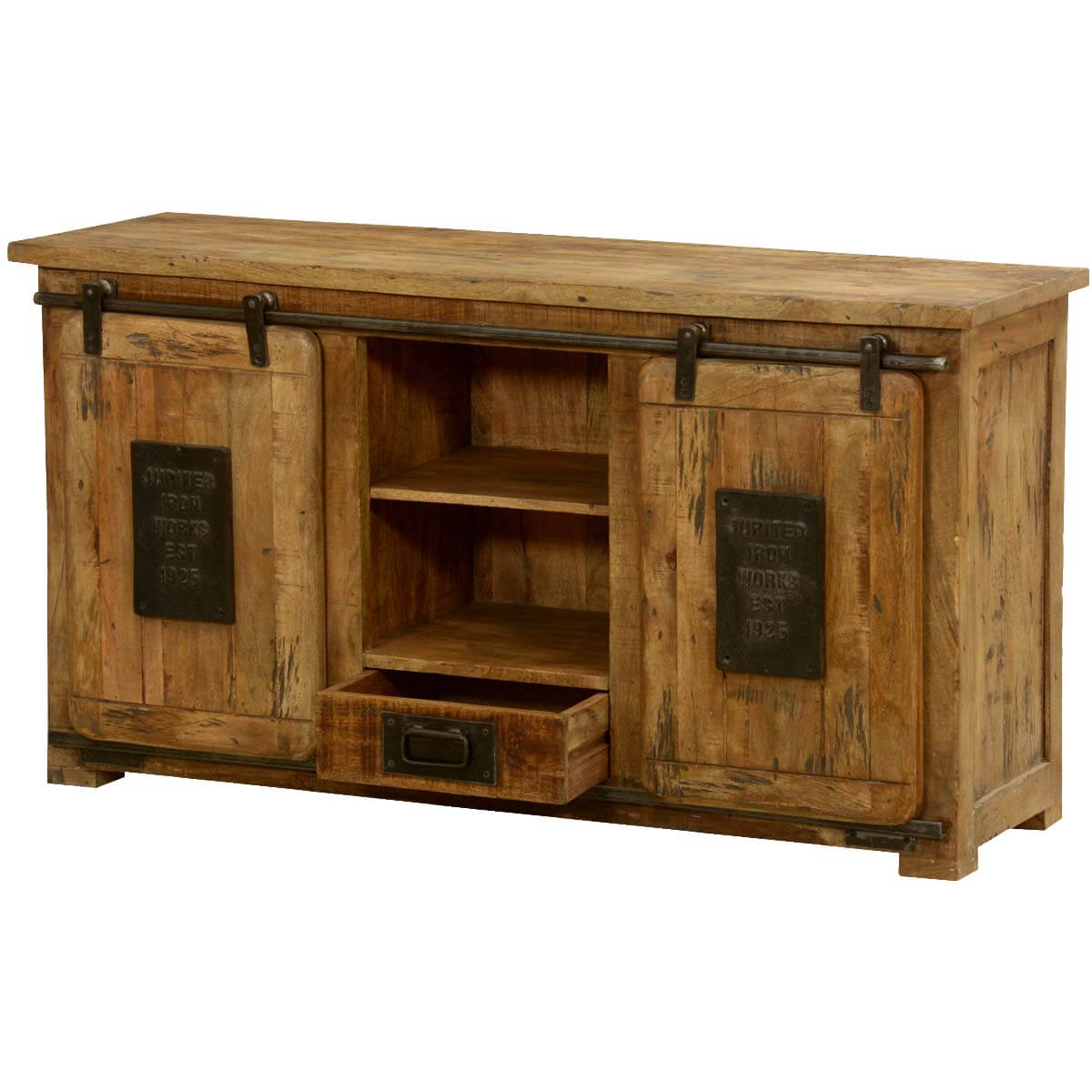 Jupiter Ironworks Mango Wood U0026 Iron Sliding Doors Media Cabinet