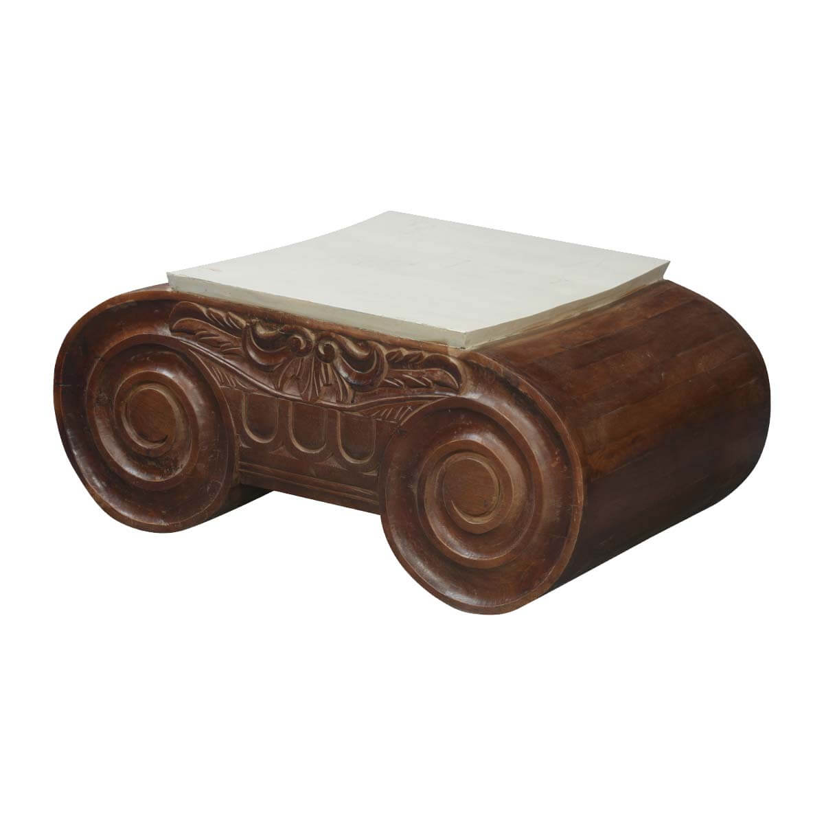 Lincoln study double scroll mango wood coffee table for Table th no scroll