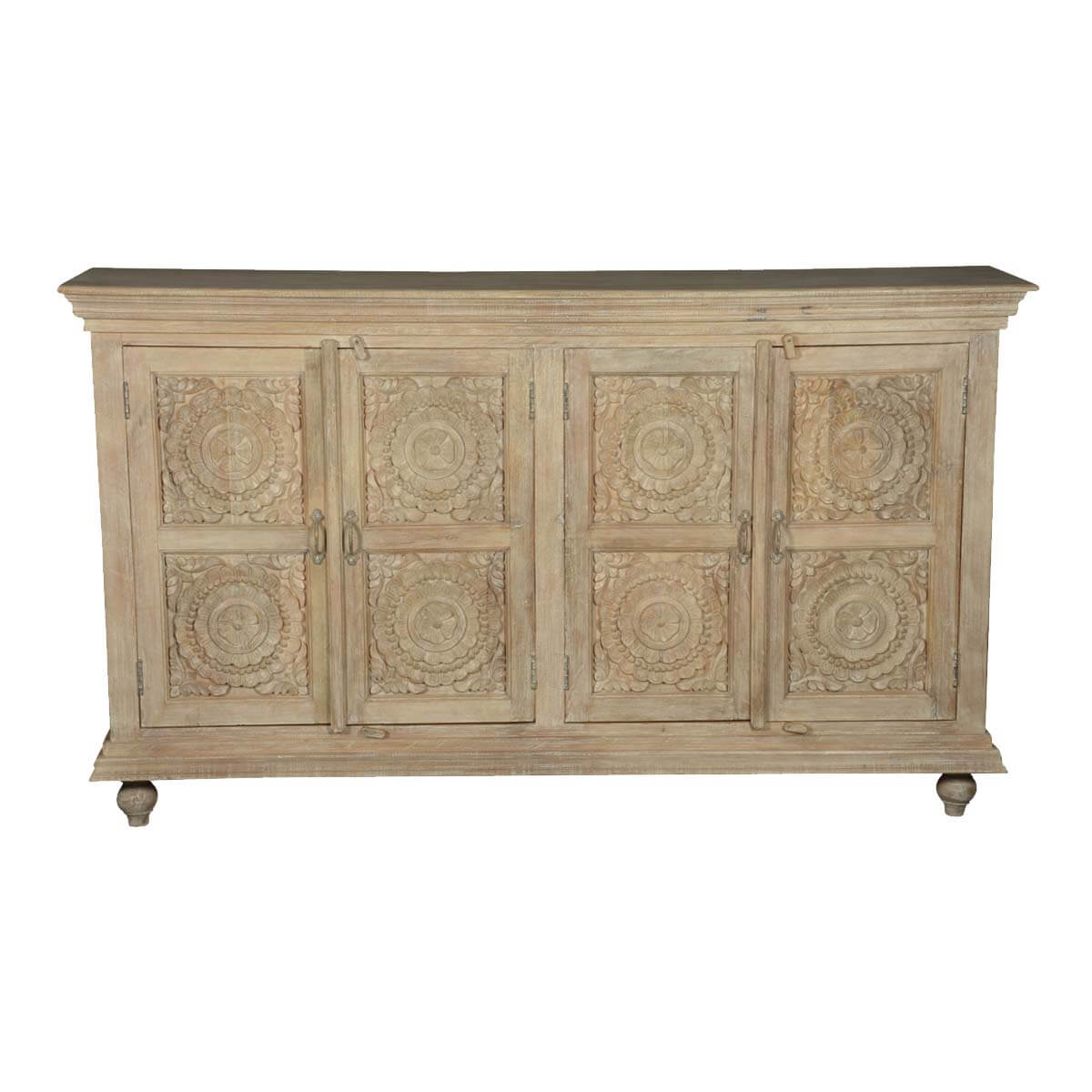 Wharton Winter White Handcrafted Rose Solid Wood Buffet