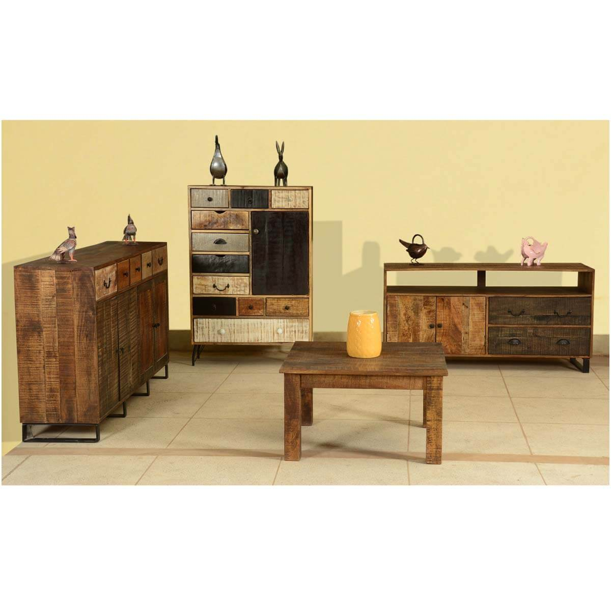 Modern Frontier Mango Wood 4 Essential Cabinets & Coffee