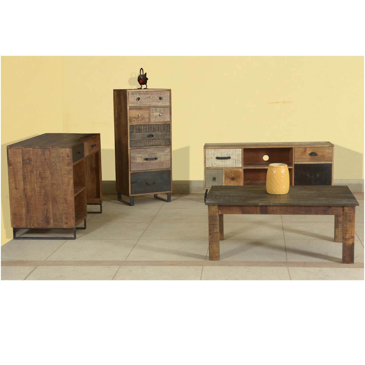 Modern Pioneer Mango Wood & Iron 4pc Apartment Cabinet & Table Set