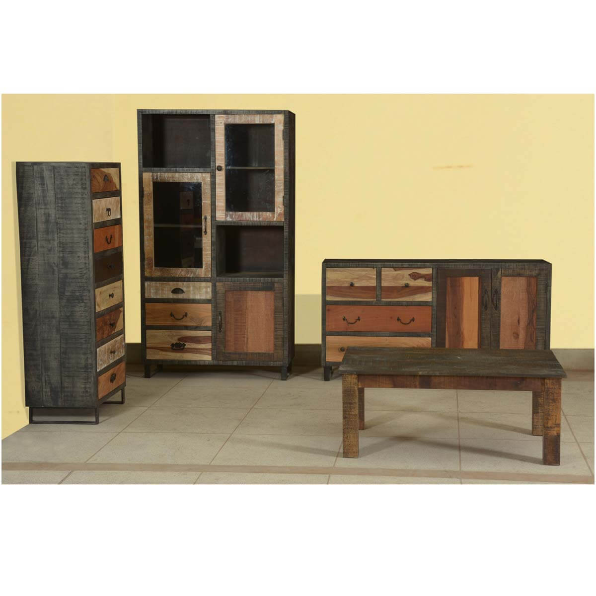 Rustic Frontier Mango Wood & Iron 4pc Studio Cabinet Collection