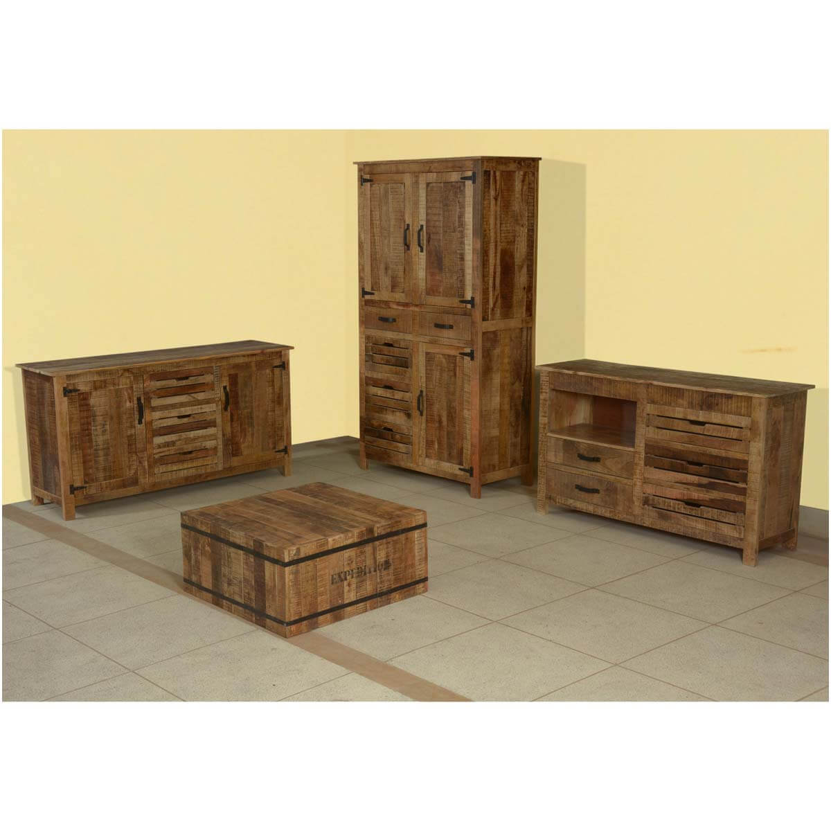 Industrial Expedition Mango Wood 4pc Living Room Cabinet Collection