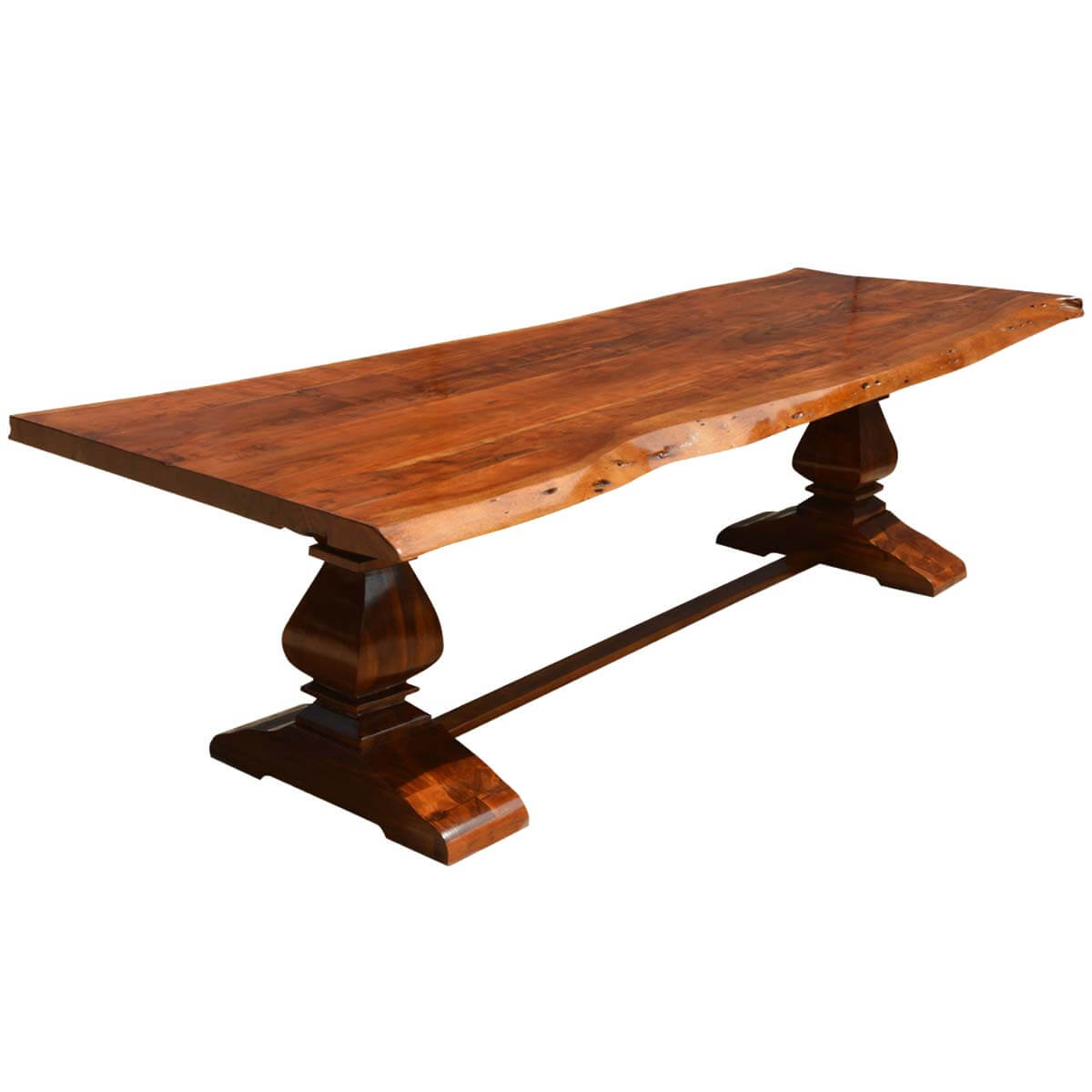 Live Edge Acacia Wood Trestle Dining Table
