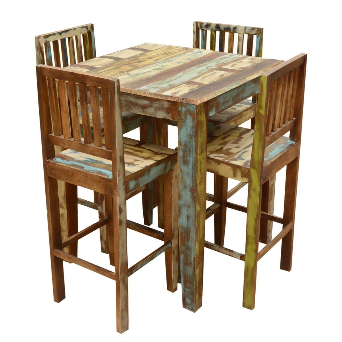 Appalachian Rustic Reclaimed Wood High Bar Table amp Chair Set