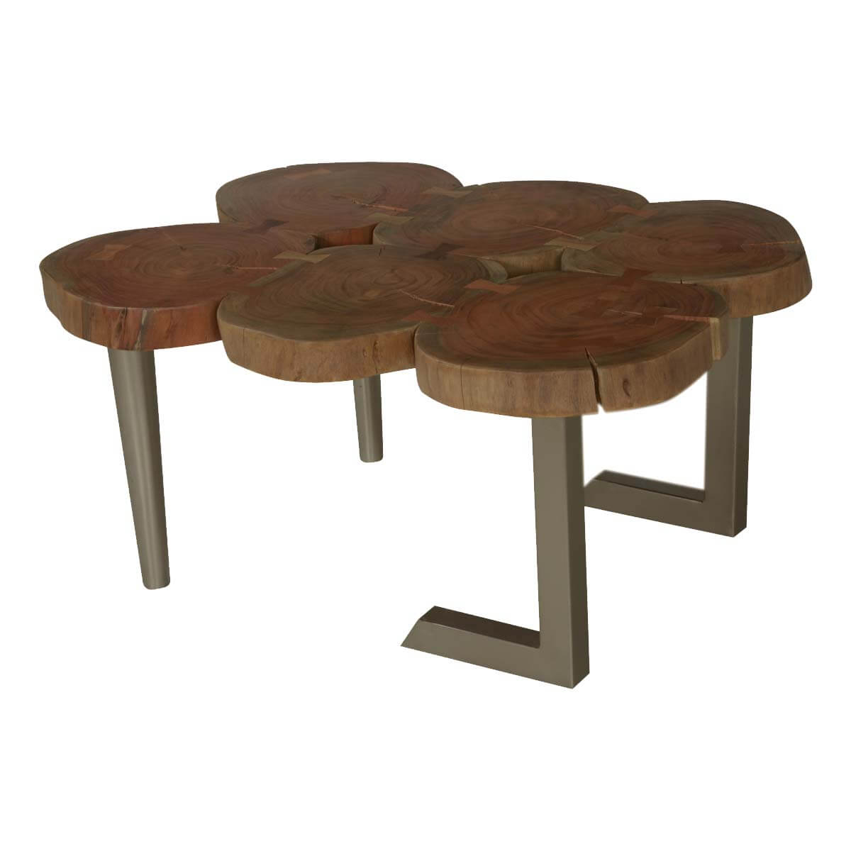 6 Stump Table Top Acacia Wood Amp Iron Centerpiece Coffee Table