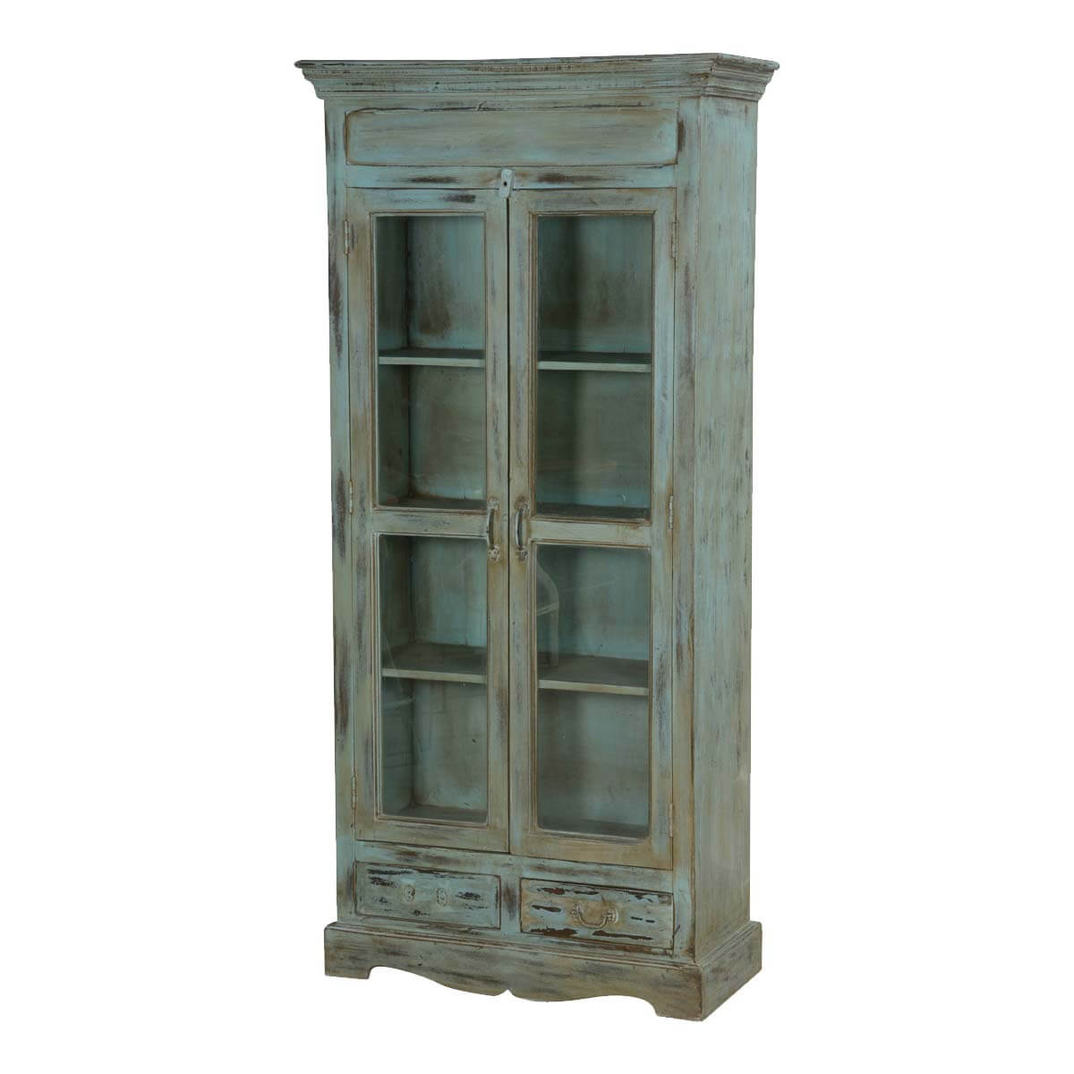 distressed curio cabinet tiro blue distressed mango wood 2 drawer display curio cabinet 14850