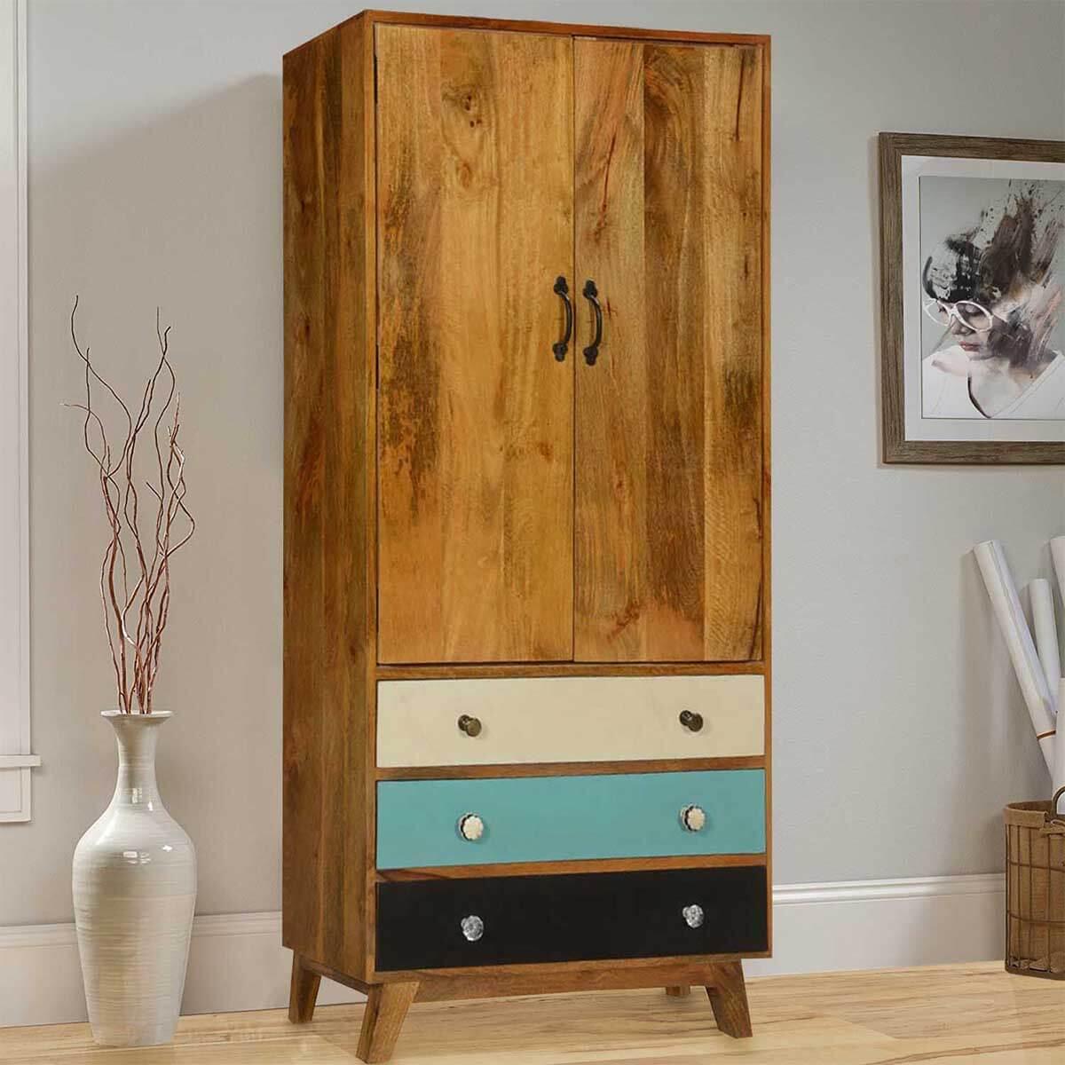 60u0027s Mod Mango Wood Standing 3 Drawer Armoire