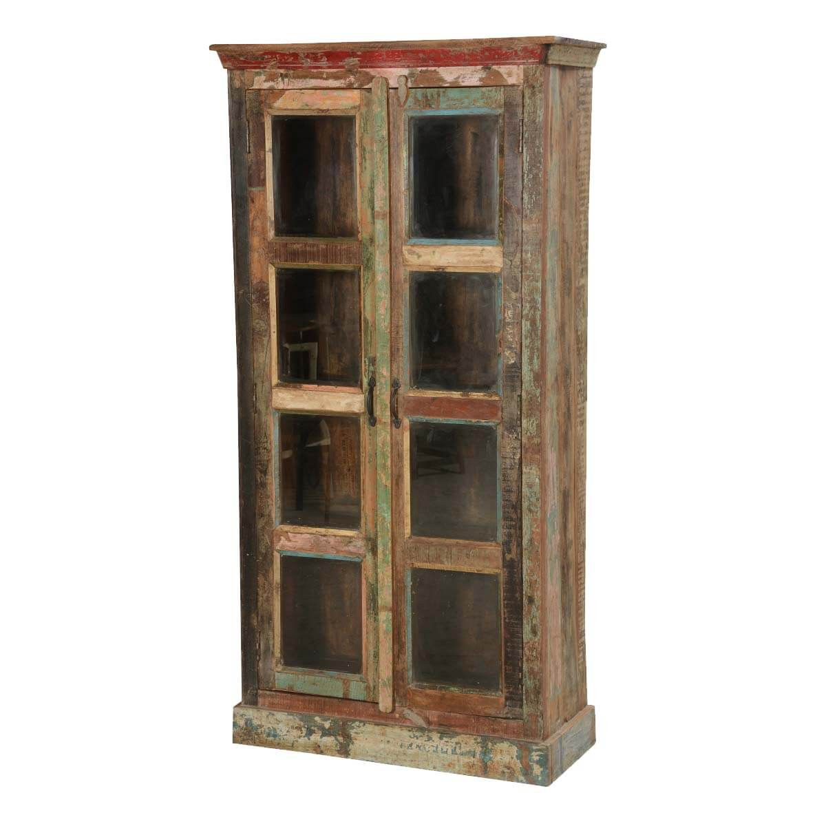 "Rustic Reclaimed Wood New Orleans 71"" High Display Cabinet Armoire - Reclaimed Wood New Orleans 71"" High Display Cabinet Armoire"