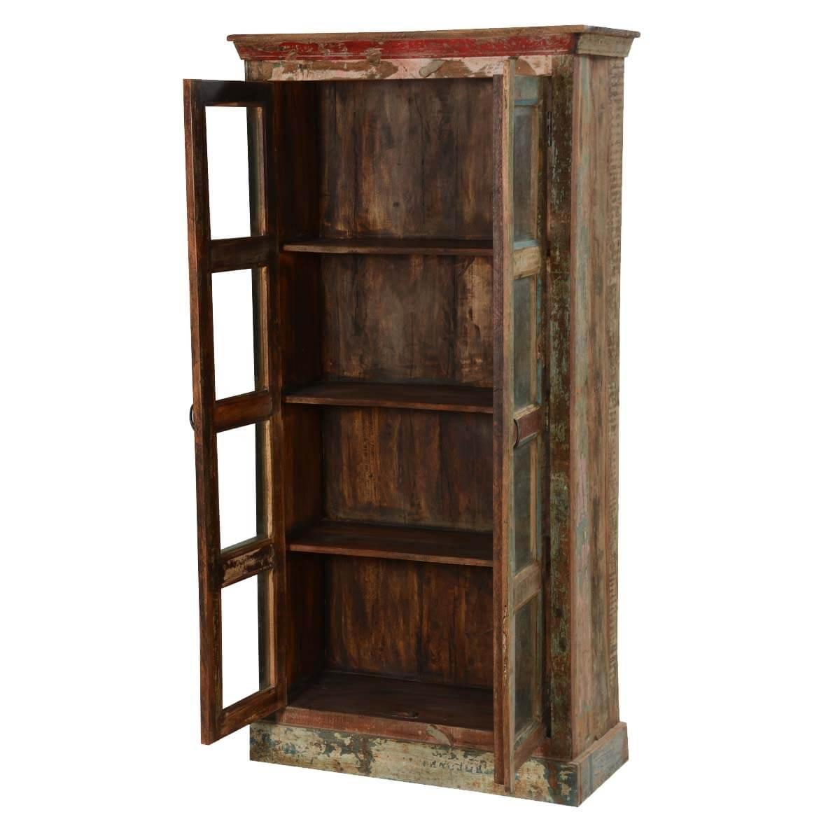 "Rustic Reclaimed Wood New Orleans 71"" High Display Cabinet Armoire - Reclaimed Wood New Orleans 71"" High Display Cabinet Armoire"