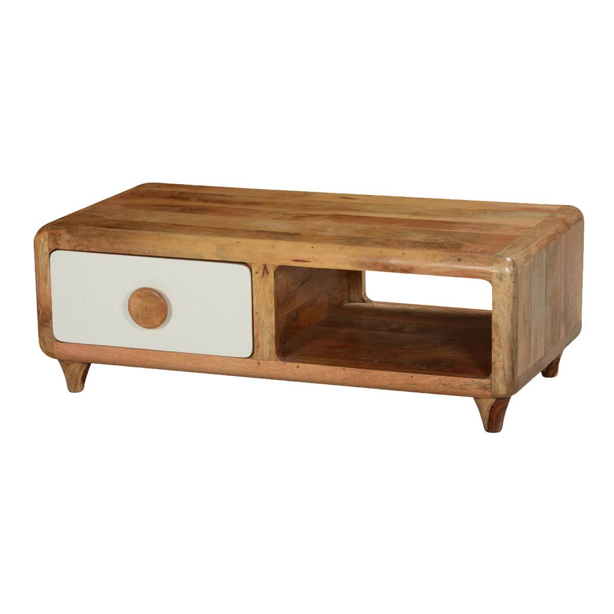 Natural Mango Wood Rounded Corners TV Console Media Cabinet
