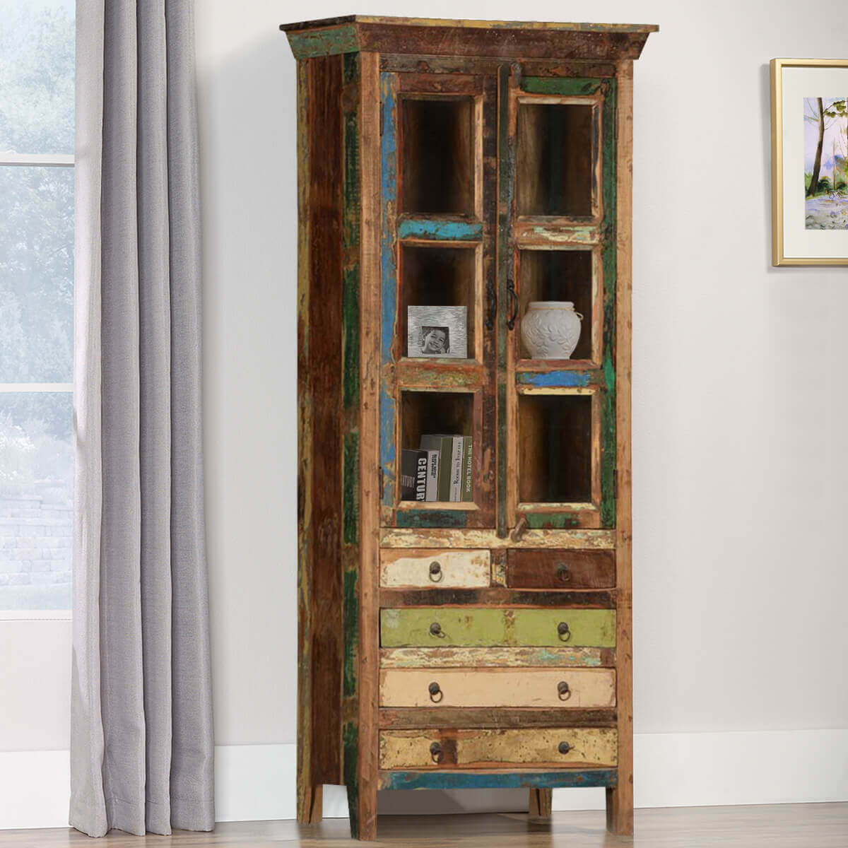 Brazoria Rustic Reclaimed Wood 5 Drawer Glass Door Tall Accent Cabinet