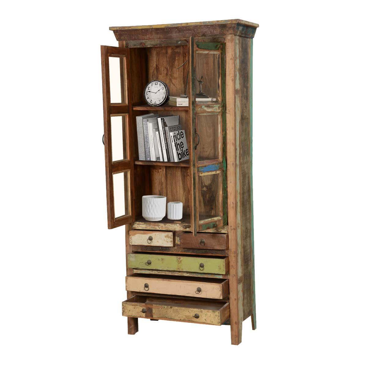 ... Rustic Reclaimed Wood 82.5 High Armoire Display Cabinet W 5 Drawers ...