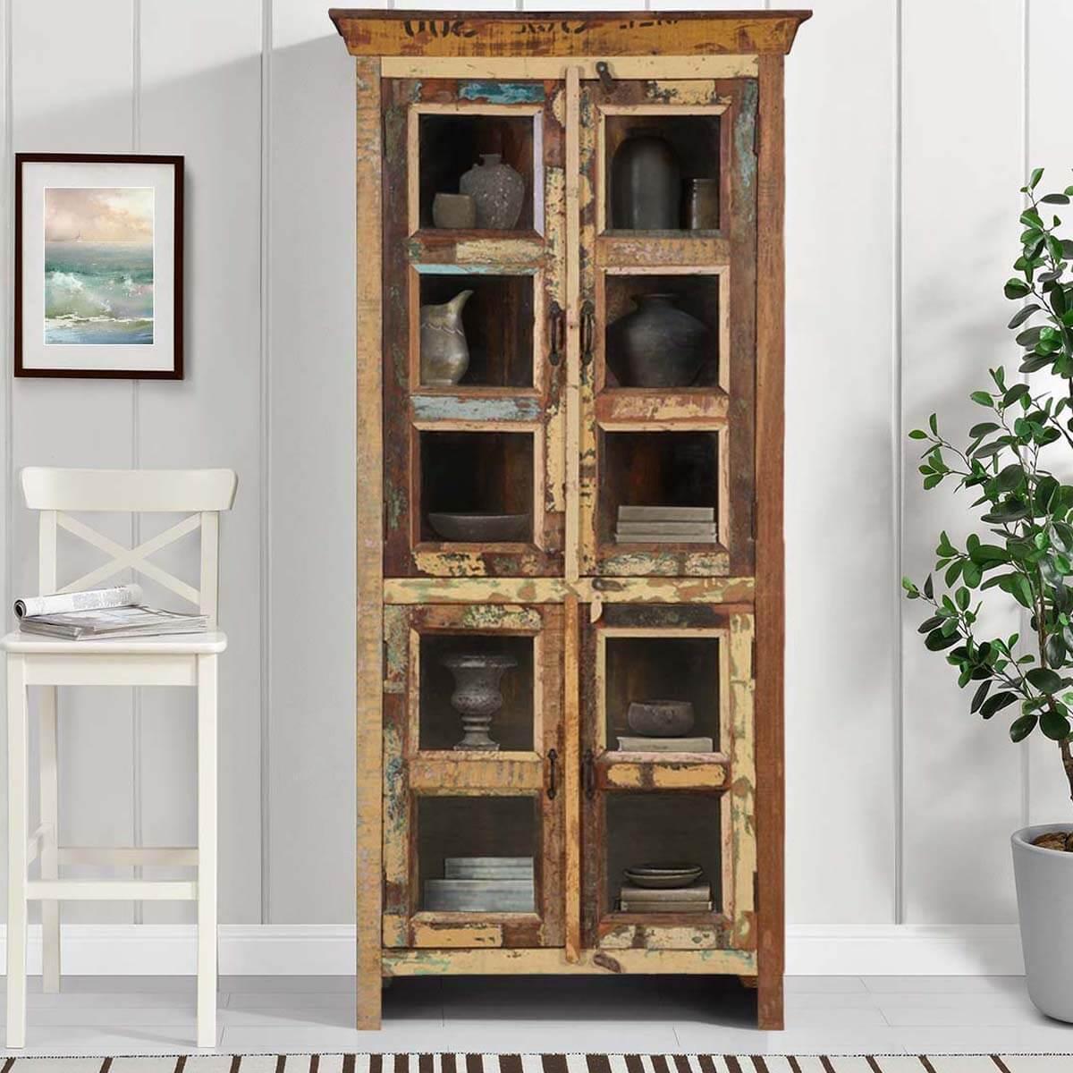 Buckner Reclaimed Wood Glass Door Accent Cabinet