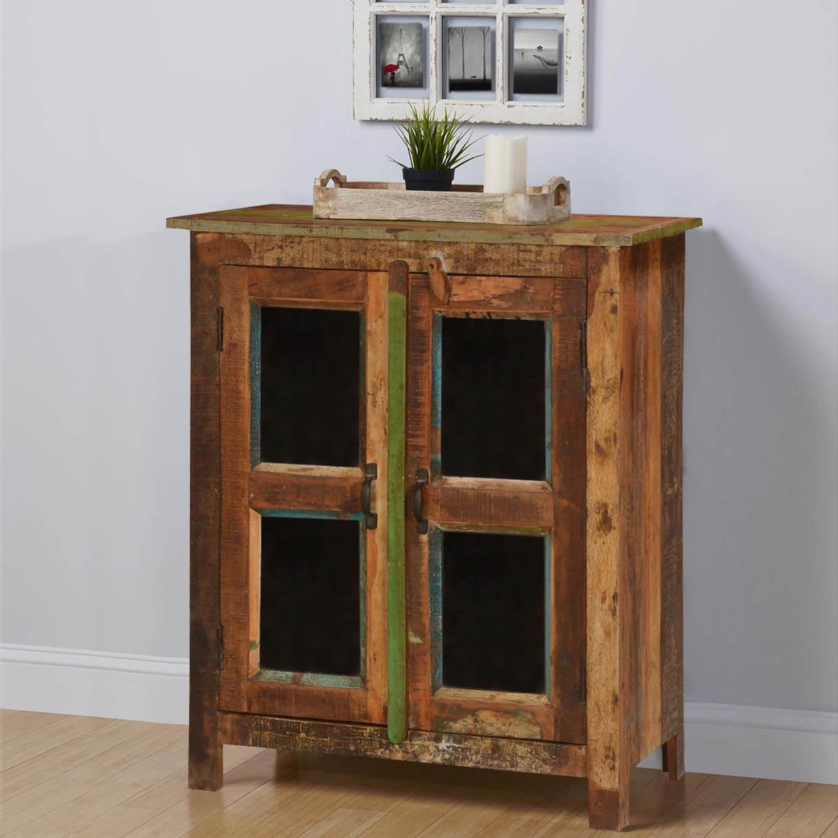 Melrose Rustic Reclaimed Wood Glass Door Floor Cabinet
