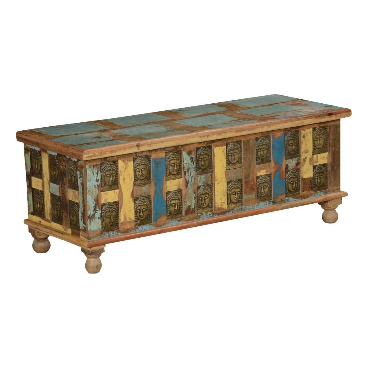 Rustic Reclaimed Wood Coffee Table Storage Trunk W Embossed Buddha