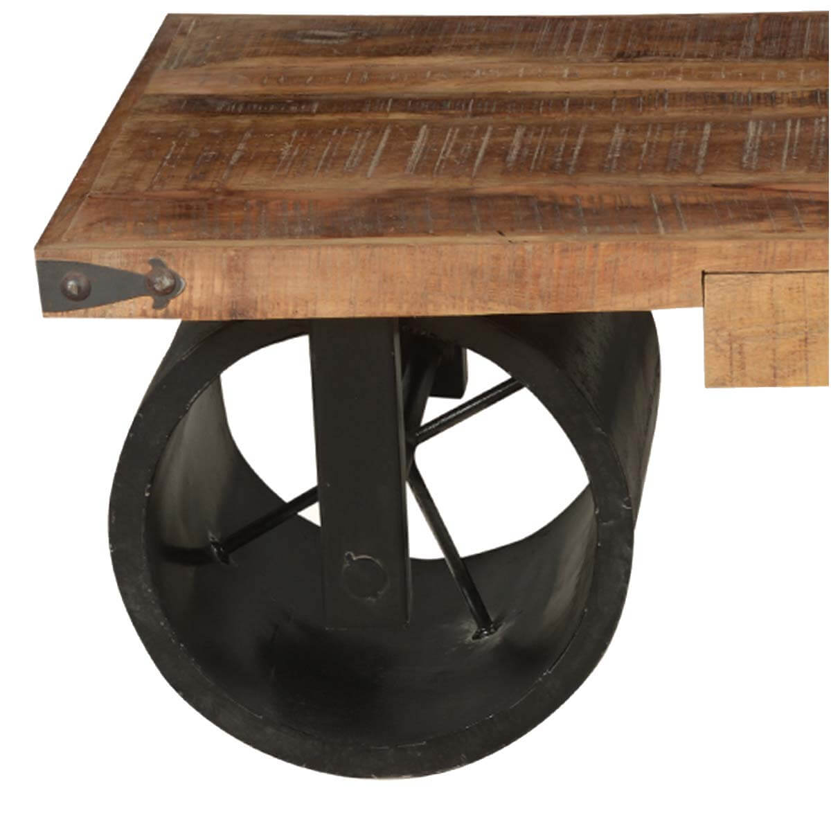 country style wagon cart coffee table w 2 drawers. Black Bedroom Furniture Sets. Home Design Ideas