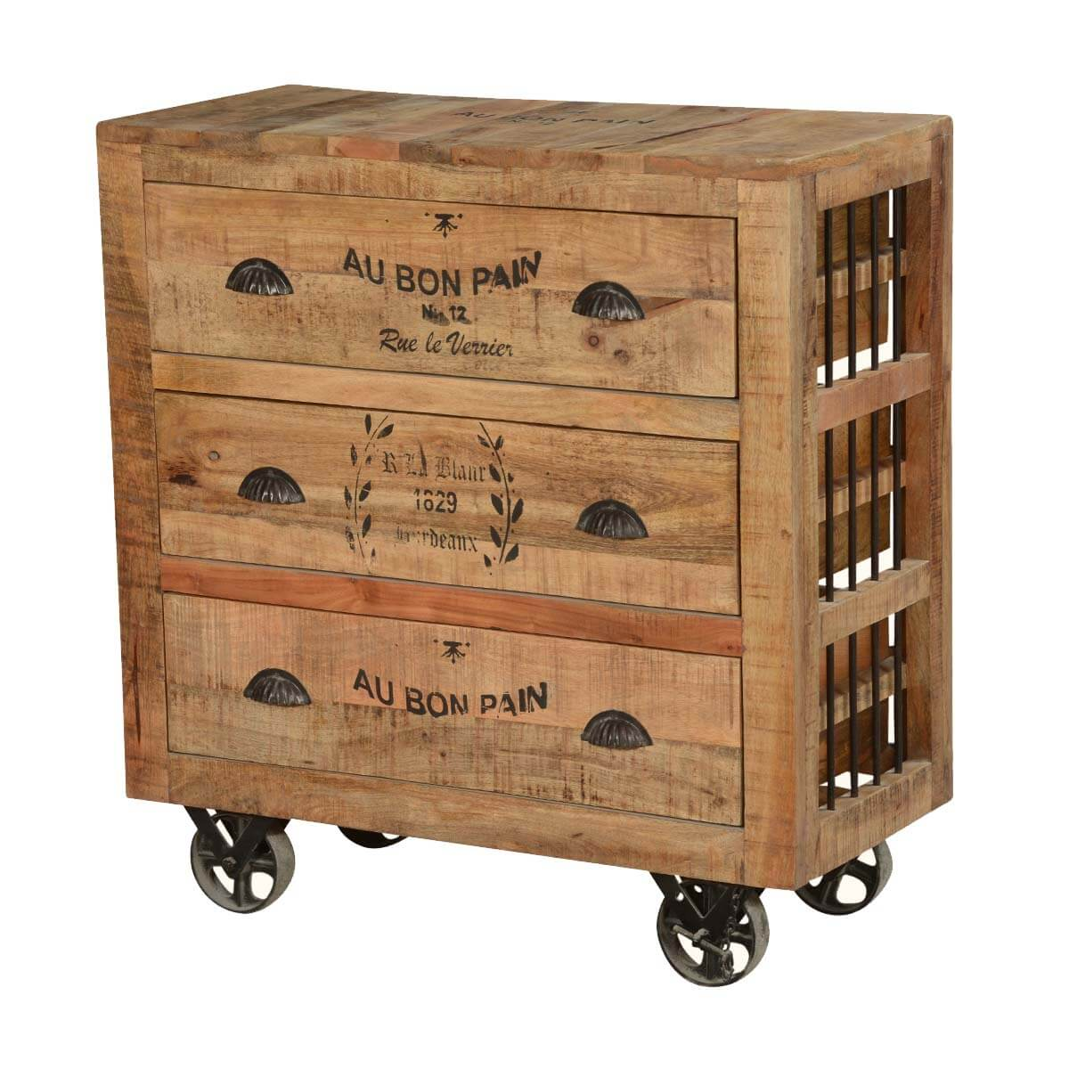 Industrial style solid wood factory cart drawer dresser