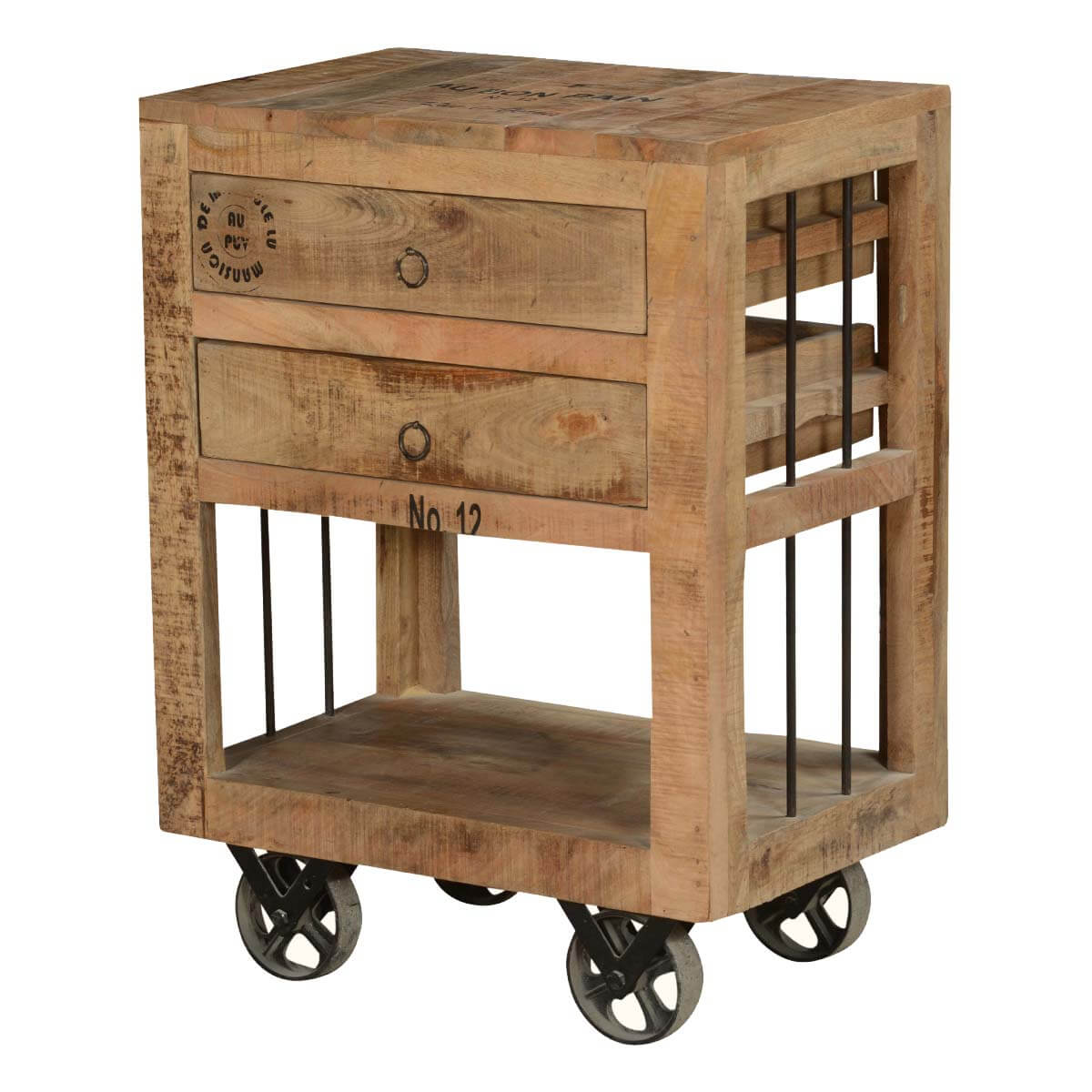 Industrial Style Rustic Solid Wood 2 Drawer End Table w Rolling Wheels