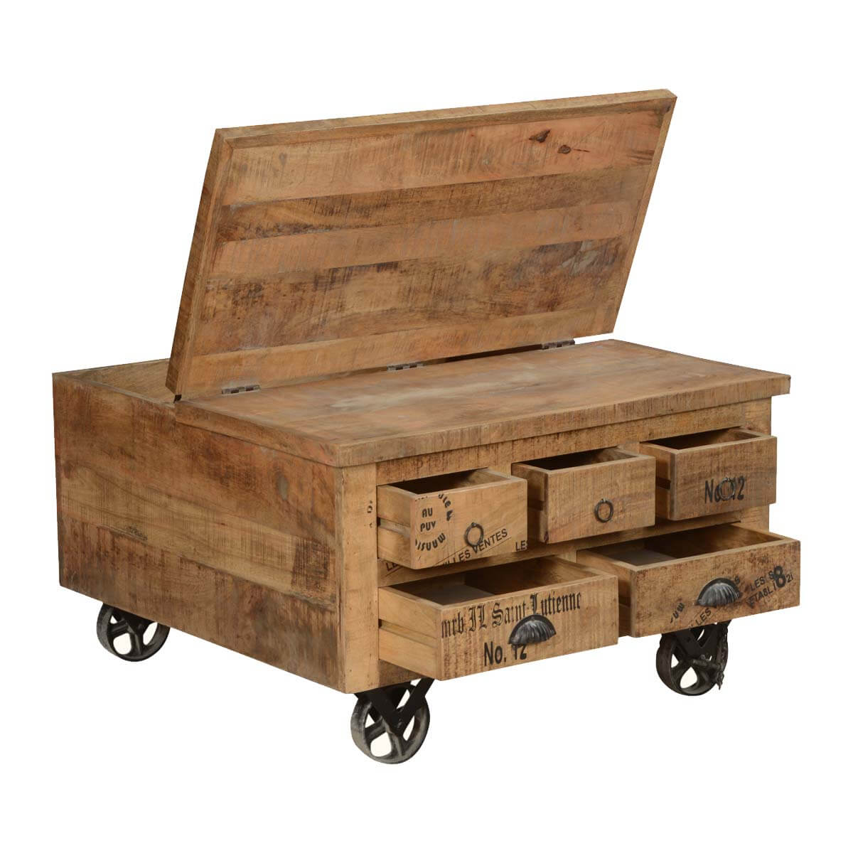 Industrial style solid wood square storage trunk 5 drawer for Solid wood coffee table