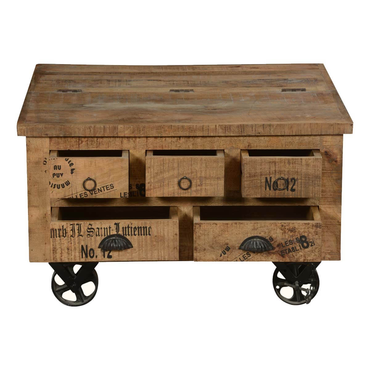 Square Coffee Table Styling: Industrial Style Solid Wood Square Storage Trunk 5 Drawer