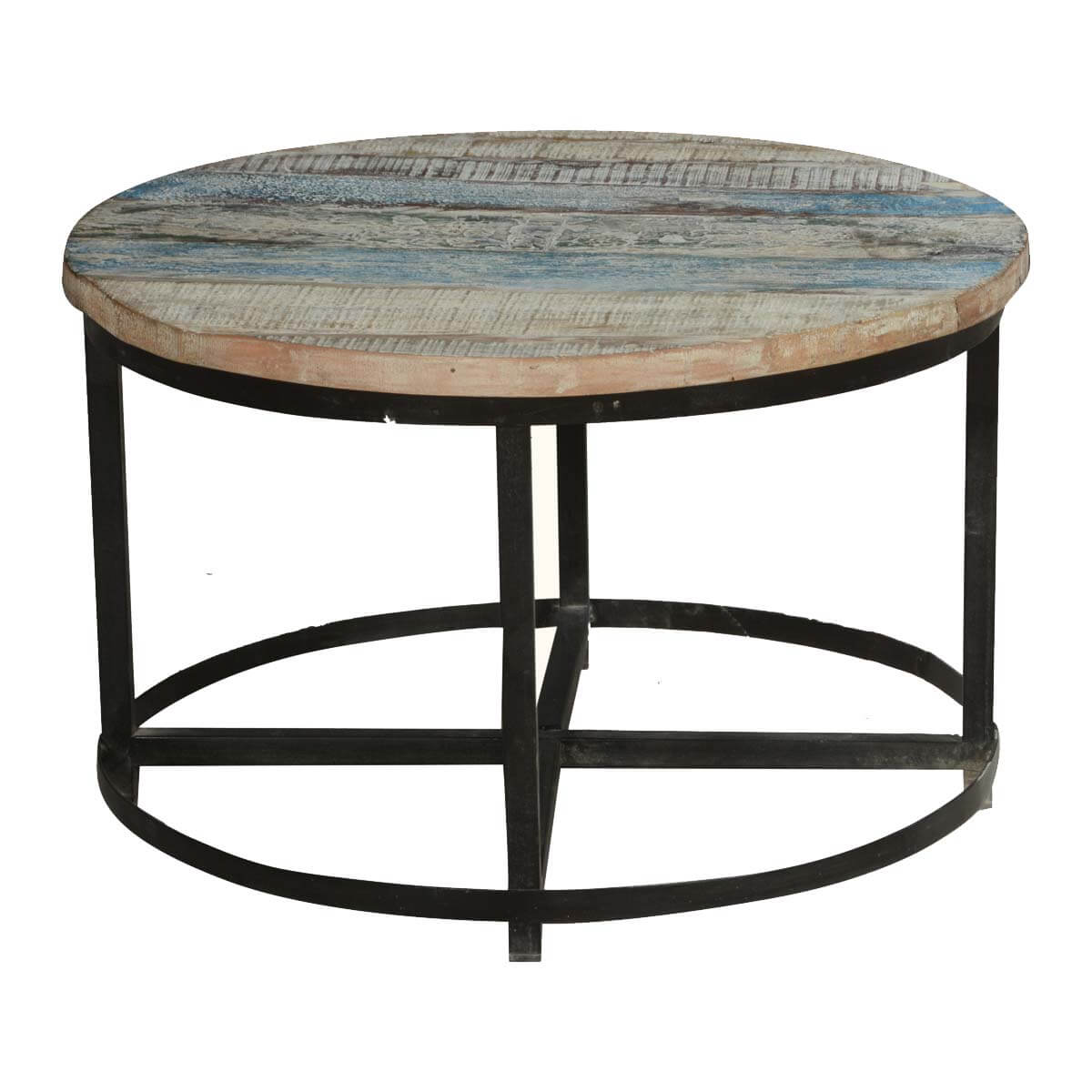 Industrial Coffee Table Images: Bithlo Reclaimed Wood Top Round Industrial Coffee Table