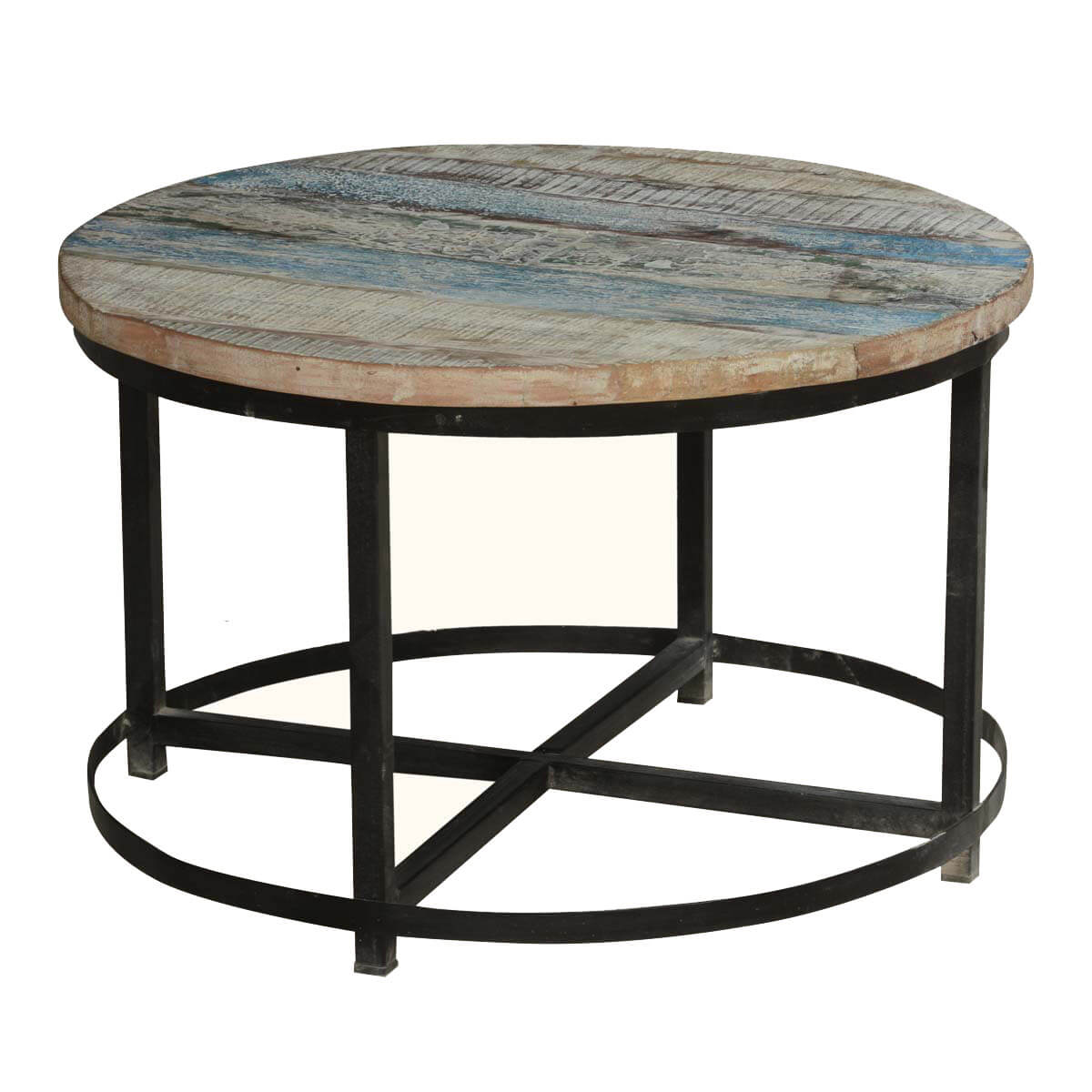 bithlo reclaimed wood top round industrial coffee table. Black Bedroom Furniture Sets. Home Design Ideas