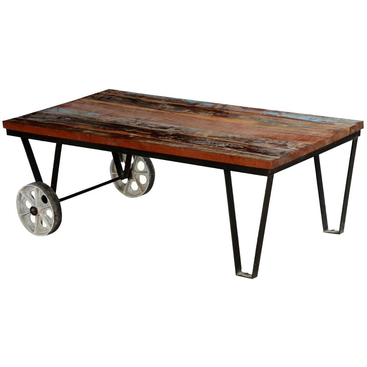 Large Coffee Table Industrial Style: Reclaimed Wood Industrial Style Factory Cart Coffee Table