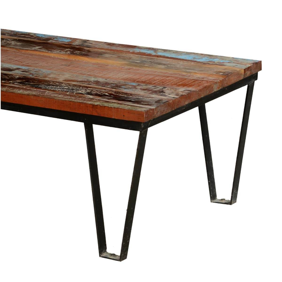 Industrial Rustic Factory Cart Coffee Table: Reclaimed Wood Industrial Style Factory Cart Coffee Table