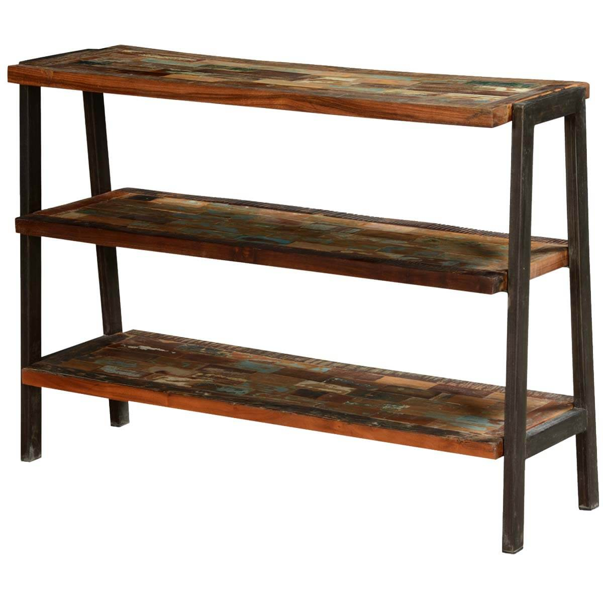 Painted bricks reclaimed wood iron open shelf console
