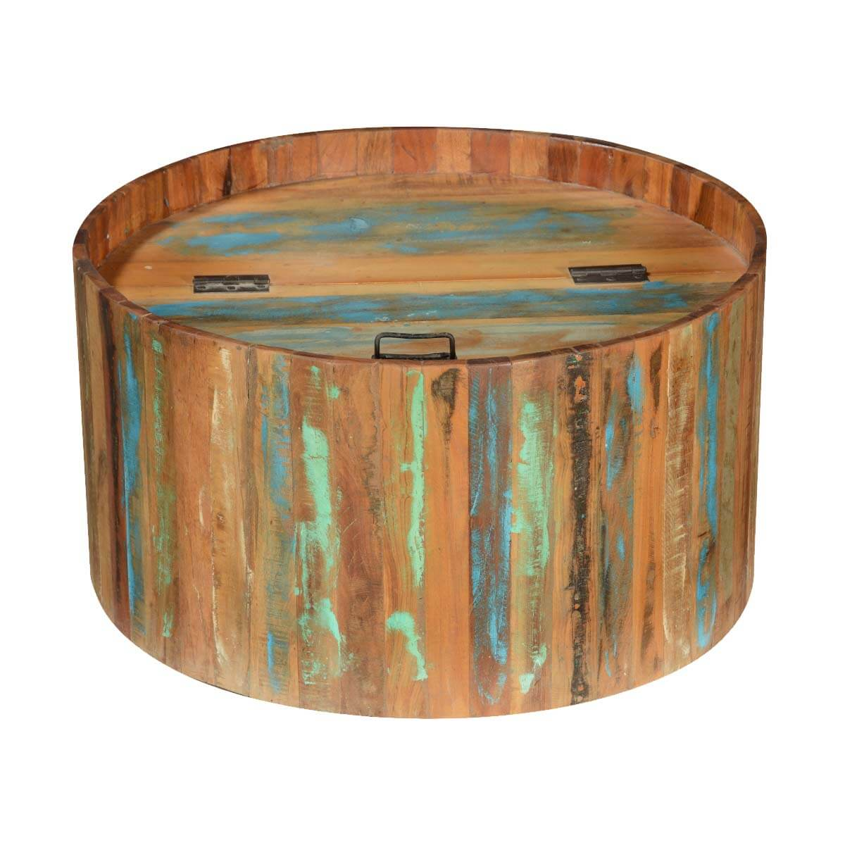 Reclaimed Wood Round Coffee Table With Storage