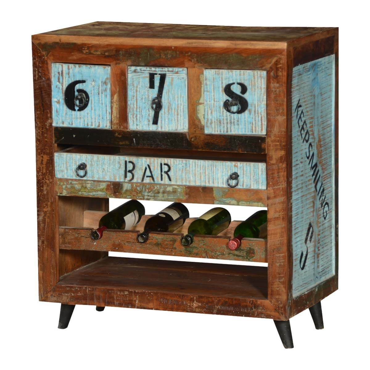 By The Numbers Reclaimed Wood Wine Rack Bar Cabinet