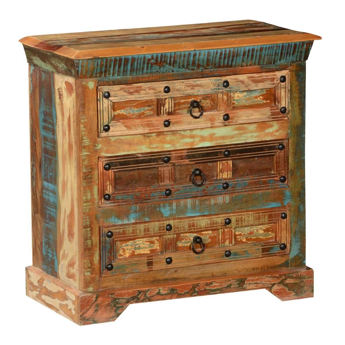 Rustic Plaid Reclaimed Wood 3 Drawer Mini Dresser Chest