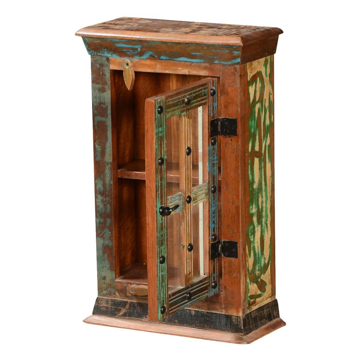 Rustic Patches Reclaimed Wood Mini Display Cabinet W Glass Door