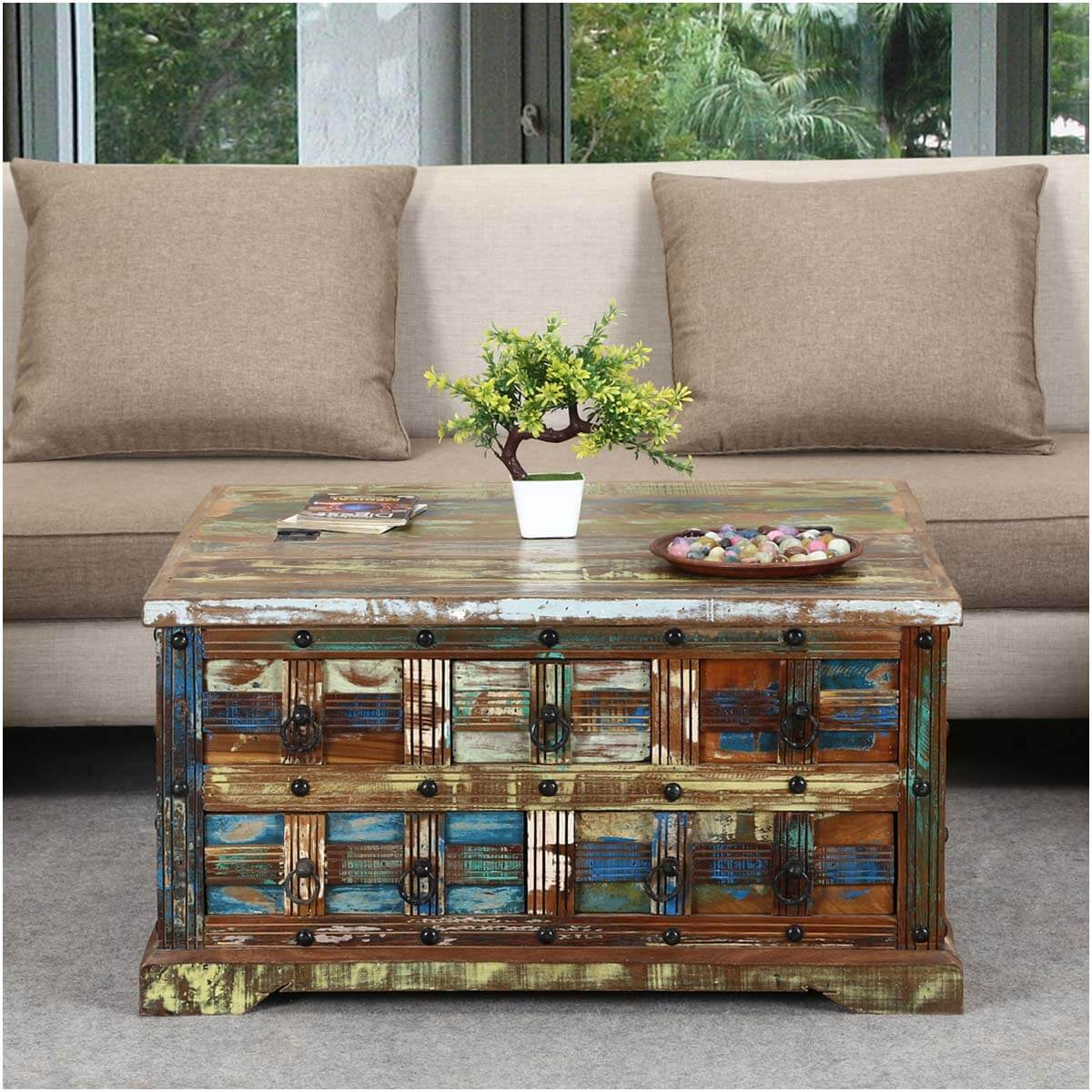 Rustic Reclaimed Wood 36 Square 5 Drawer Coffee Table Chest