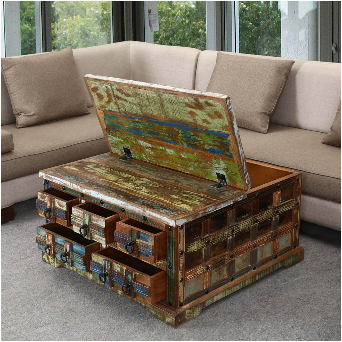 """Reclaimed Wood Coffee Table Square: Rustic Reclaimed Wood 36"""" Square 5 Drawer Coffee Table Chest"""