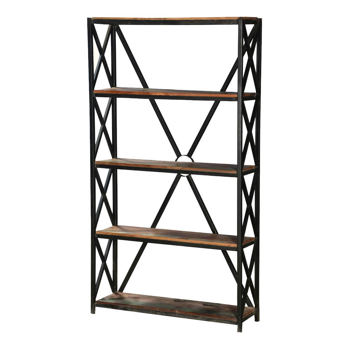 "Industrial X Frame Reclaimed Wood & Iron 71"" 4 Shelf  Bookcase"