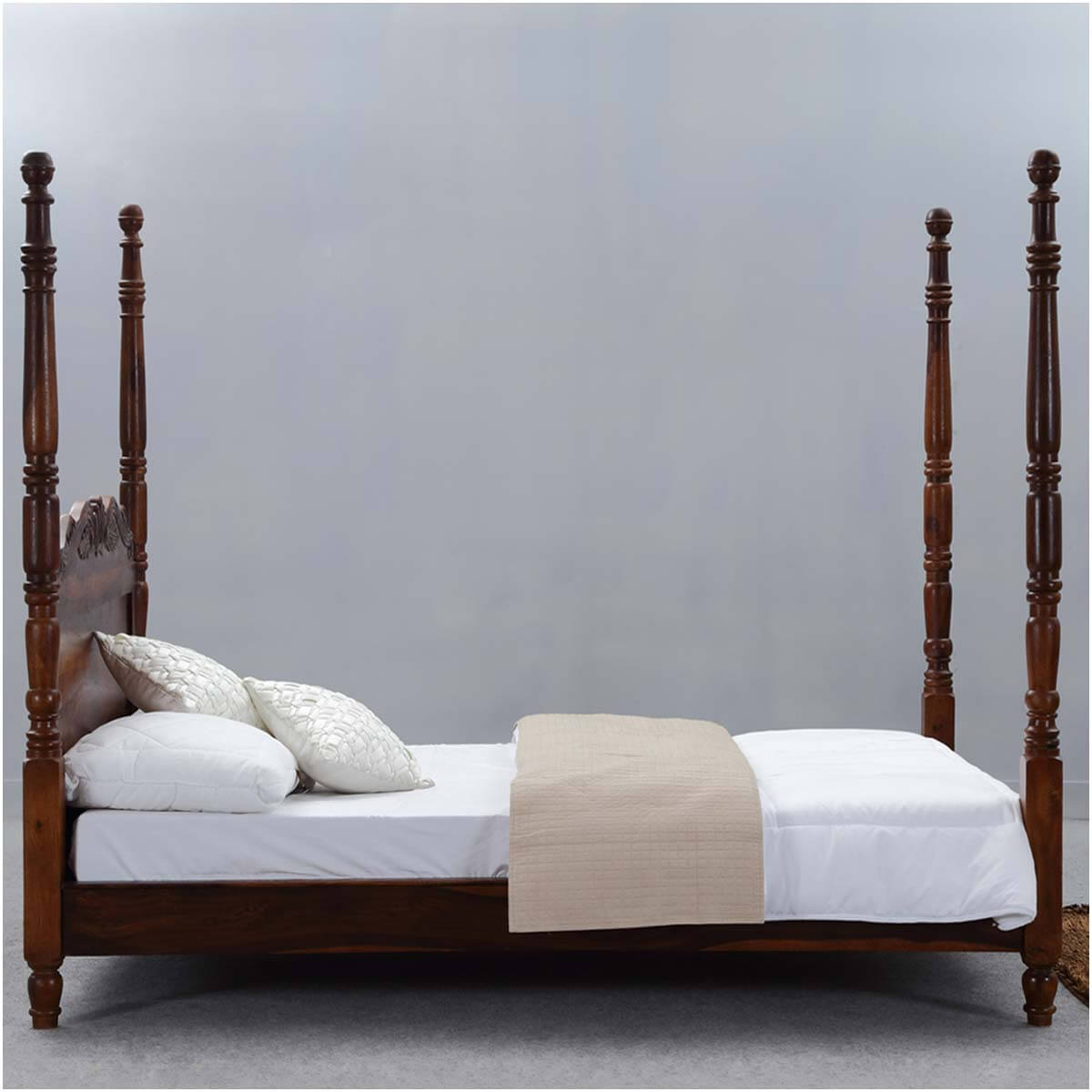 queen anne solid wood four poster platform bed frame w
