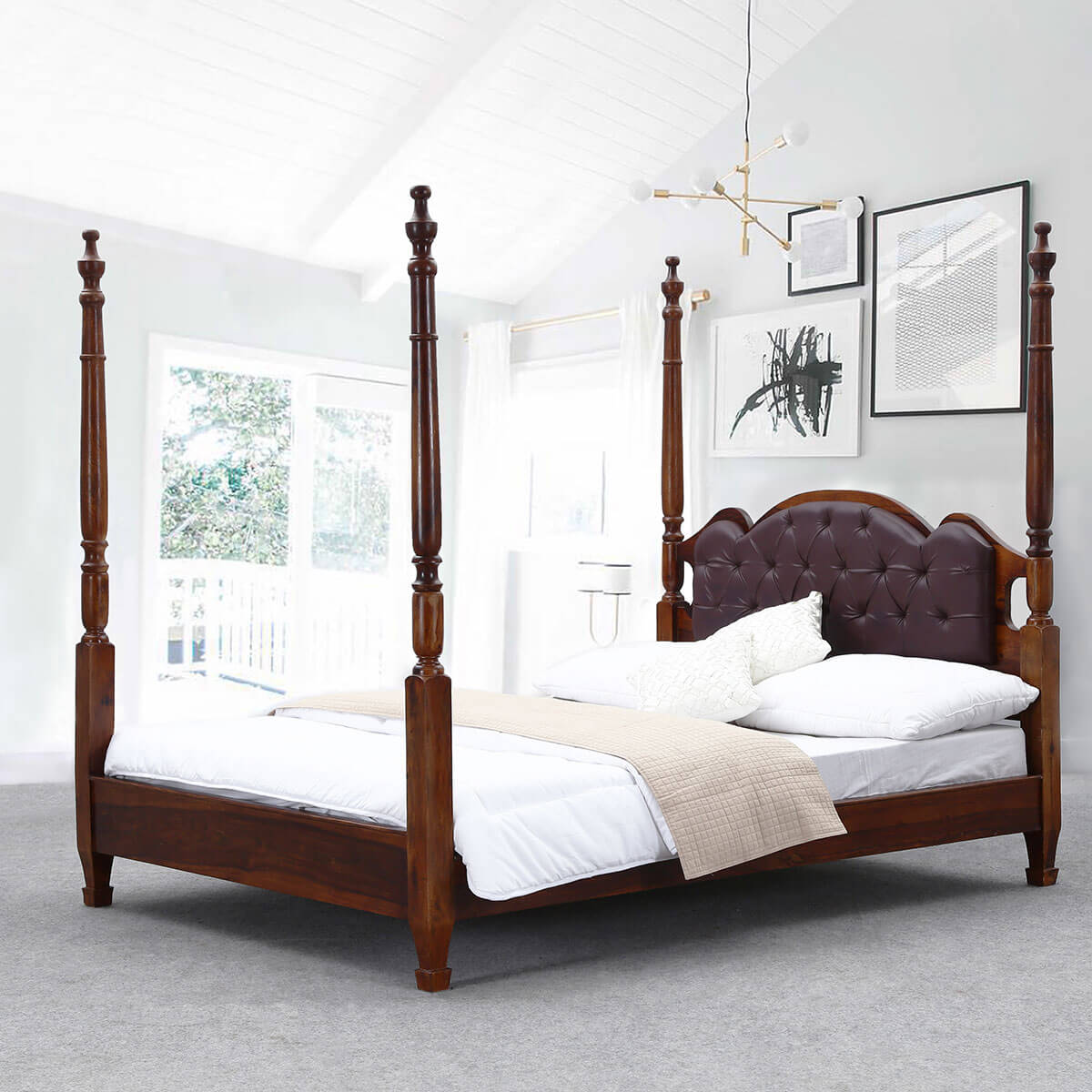 Four poster cal king size bed frame english tudor solid for Cal king bed size