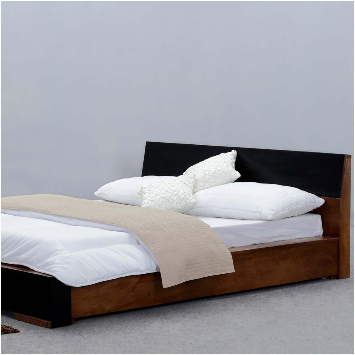 modern simplicity mango wood floor frame platform bed w headboard. Black Bedroom Furniture Sets. Home Design Ideas