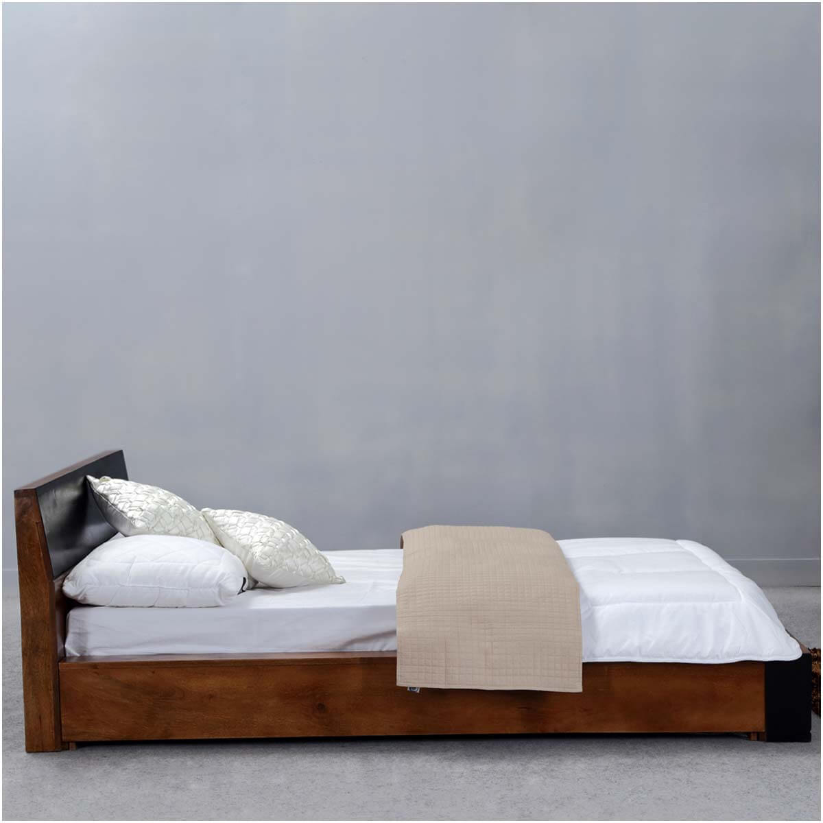 Modern simplicity mango wood floor frame platform bed w for Floor bed frame