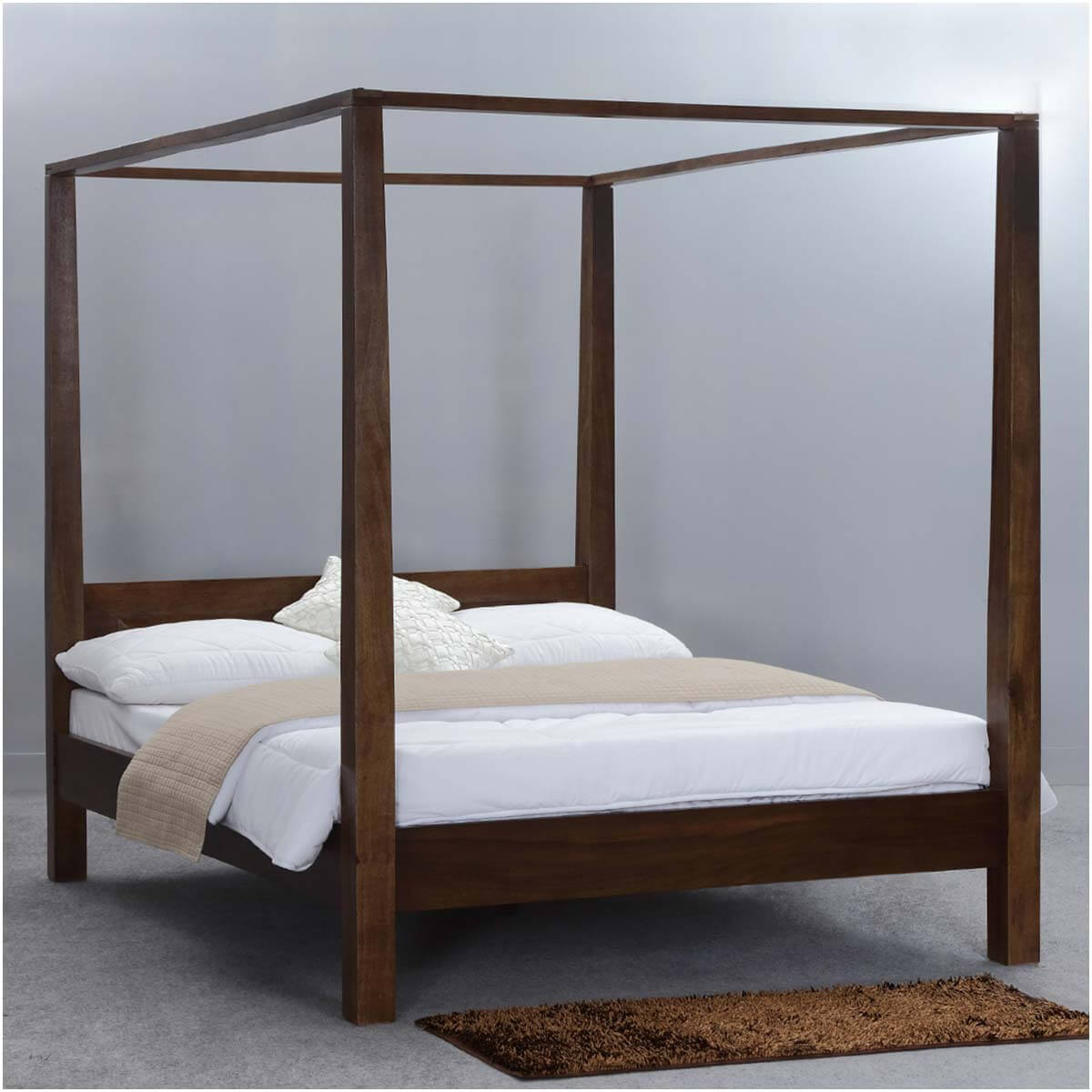 Modern Rustic Philadelphia Solid Wood King Size Canopy Bed