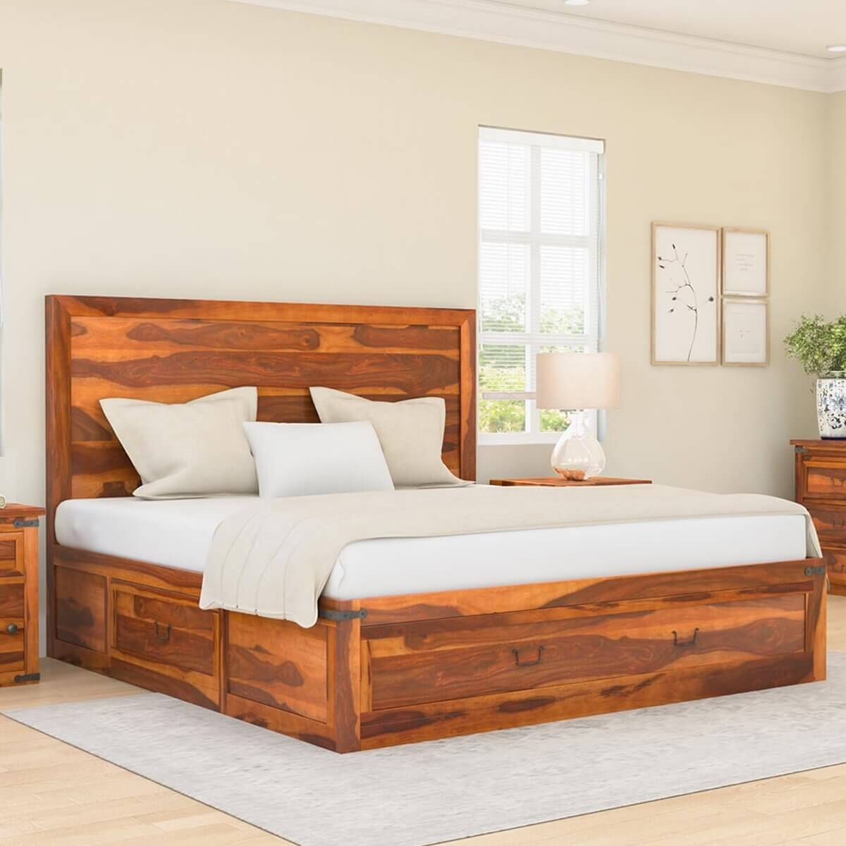 classic shaker california king size solid wood platform storage bed. Black Bedroom Furniture Sets. Home Design Ideas