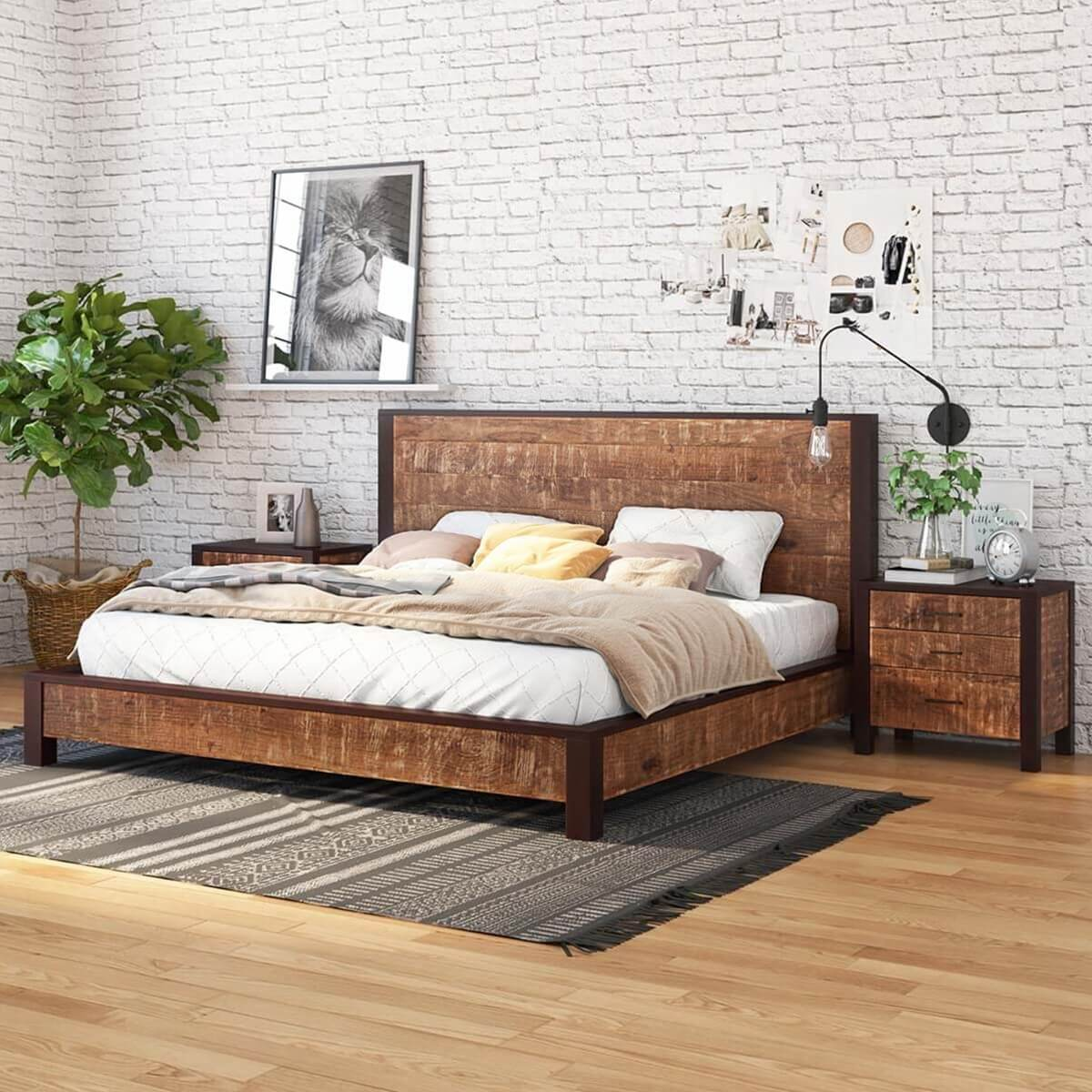 New orleans solid wood platform bed frame w headboard and Wood platform bed