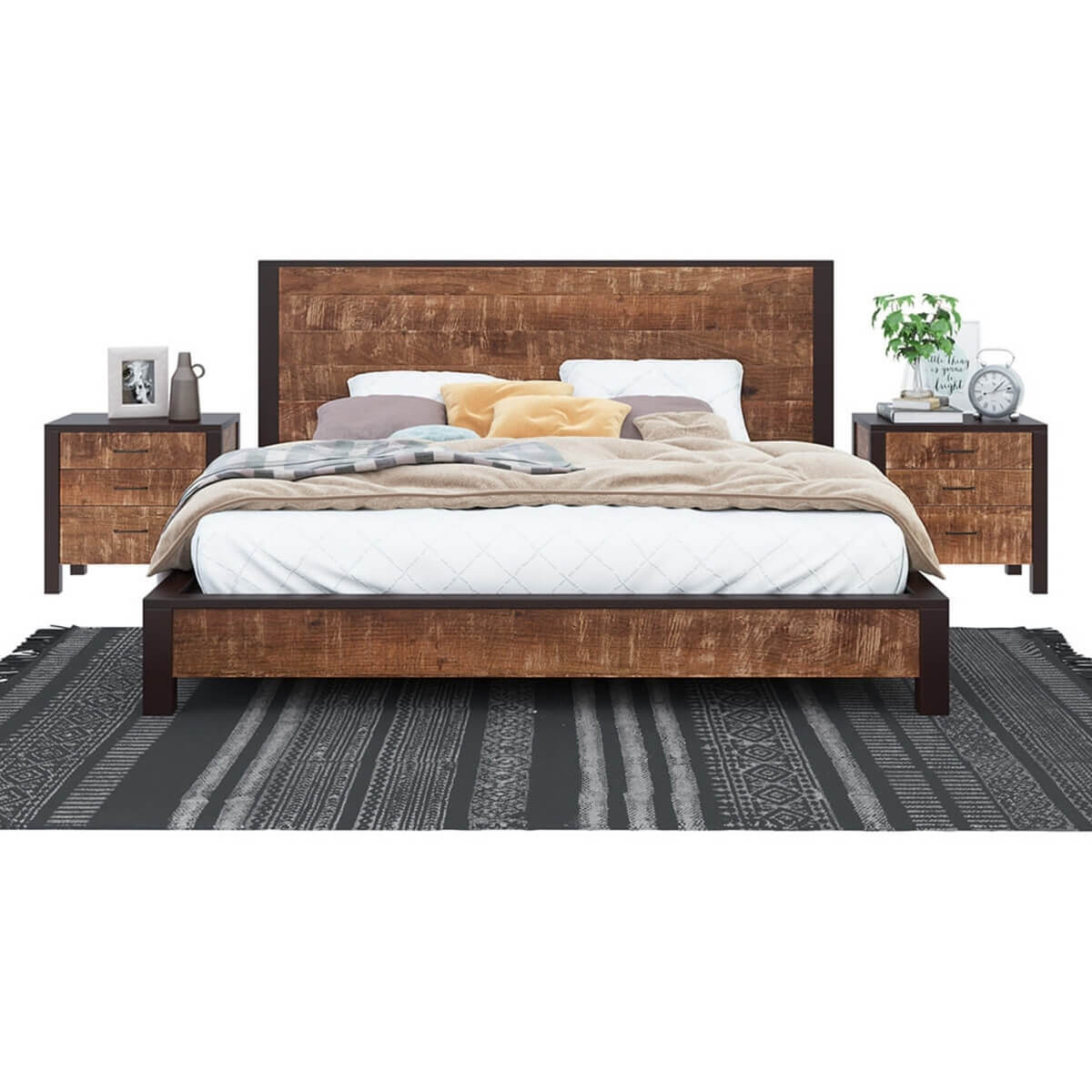 New Orleans Solid Wood Platform Bed Frame W Headboard And
