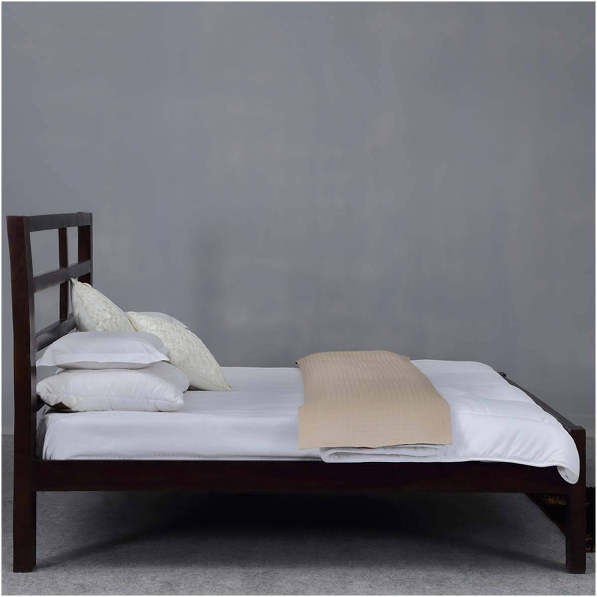 Modern Rustic Open Design Solid Wood Platform Bed w Headboard